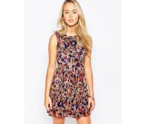 Plissiertes Kleid mit Schmetterlingsdruck Mehrfarbig