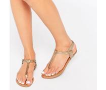 Flache Sandalen mit goldenem Zehensteg Gold