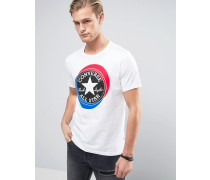 10003901-A01 Weißes T-Shirt mit großem, rundem Logo Weiß