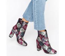 Oxford Ankle-Boots mit Absatz und Blumendesign Mehrfarbig