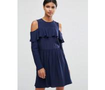Minikleid mit Schulterausschnitten und Rüschendetail Marineblau