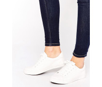 Sneaker in Lederoptik Weiß