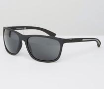 Eckige Sonnenbrille in Mattschwarz Schwarz