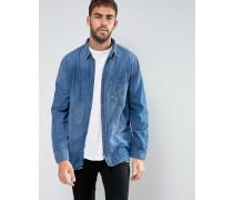 Co Calle Skewed Jeanshemd mit Tasche Blau