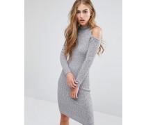 Figurbetontes, geripptes Kleid mit Schulter-Cutout Grau