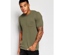 Strick-T-Shirt mit Rippenstruktur Grün