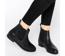 Chelsea-Stiefel aus Leder mit Eidechsenprint Schwarz