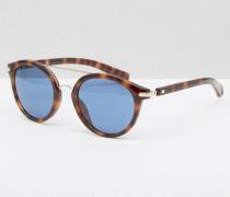 Jeans Runde Sonnenbrille mit Brauensteg Braun