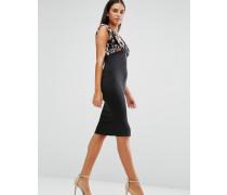 Kleid mit geblümtem Oberteil und Reißverschluss vorne Schwarz