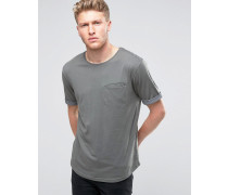 T-Shirt mit Tasche, Rollärmeln und Rundsaum Grau