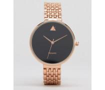 Uhr mit großem Ziffernblatt und schmalem Armband Gold