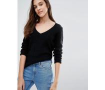 Ambleside Pullover mit Zopfmuster und V-Ausschnitt Schwarz