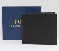 Faltbare Lederbrieftasche mit Prägung in Pony-Optik Schwarz