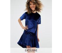 Oversize-T-Shirt-Kleid aus Samt mit Volant-Saum Blau