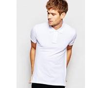 Polohemd aus Pikee Weiß