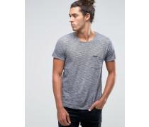 Kurzärmliges, gestreiftes T-Shirt mit einer Tasche Blau