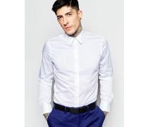 Stretch-Popelinehemd mit schmalem Schnitt Weiß