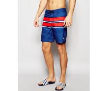 Gestreifte Boardshorts Marineblau