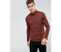 Langärmliges Jersey-Polohemd in Rot Rot