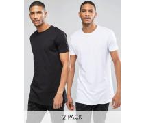 2er Packung extra lang geschnittener T-Shirts mit Rundhalsausschnitt in Schwarz/Weiß DU SPARST Mehrfarbig
