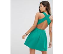 Miniskaterkleid mit überkreuzter Rückseite Grün
