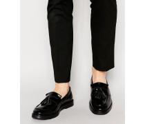 Loafer aus schwarzem Leder mit Quasten Schwarz