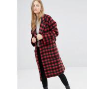 Hüftlanger Mantel mit rotem Karomuster und Bindung Mehrfarbig