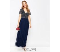 Maxi-Tüllkleid mit V-Ausschnitt und farblich passenden, feinen Pailletten Marineblau