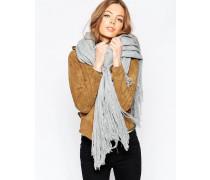 Übergroßer gewebter Schal mit langen Fransen Grau