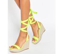TALENT Sandalen mit Keilabsatz und Ballerinaschnürung Grün