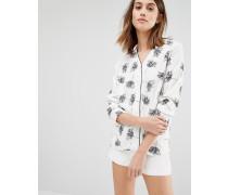 Bluse mit Blumen-Schablonendruck Weiß
