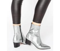 RETSELLA Ankle-Boots aus Leder Silber