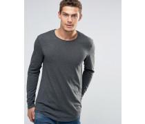 Langes T-Shirt mit langen Ärmeln und geschwungenem Saum Grau