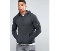 Melierter Pullover mit Kapuze aus gedrehtem Garn Grau