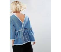 Jeansoberteil mit Wickeloptik hinten in Vintage-Waschung Blau