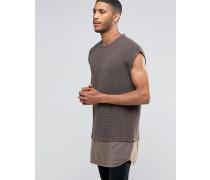 Ärmelloser Oversize-Pullover mit Rundhalsausschnitt und farblich abgesetztem Jerseyeinsatz Braun