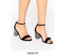 New Look Sandalen mit Absatz in Marmoroptik in breiter Passform Schwarz