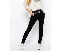 Knöchellange Jeans im Used-Look mit Fransensaum Schwarz