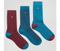 Socken aus Modal-Baumwolle im 3er-Pack in Schwarz mit gestreifter Ferse Schwarz