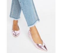 Flache, glänzende Schuhe in Perlrosa Rosa
