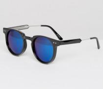 Revo Runde Sonnenbrille mit blauen Spiegelgläsern Schwarz