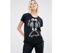 T-Shirt mit betendem Skelettprint Schwarz