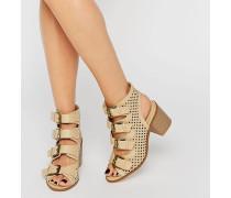 Sandalen mit Absatz und vielen Schnallen Braun