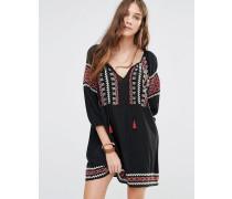 Besticktes, vorn gebundenes Boho-Kleid Schwarz