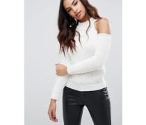Pullover mit Schulteraussparungen Cremeweiß