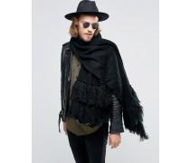 Schwarzer Schal mit Troddeln Schwarz
