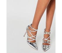 POTION Spitze High-Heels im Gitterdesign Silber