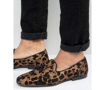 Slippers mit Leopardenmuster Gold