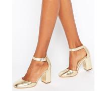 Schuhe mit Blockabsatz in Metallic-Optik Gold