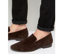 Loafer aus dunkelbraunem Wildleder Braun